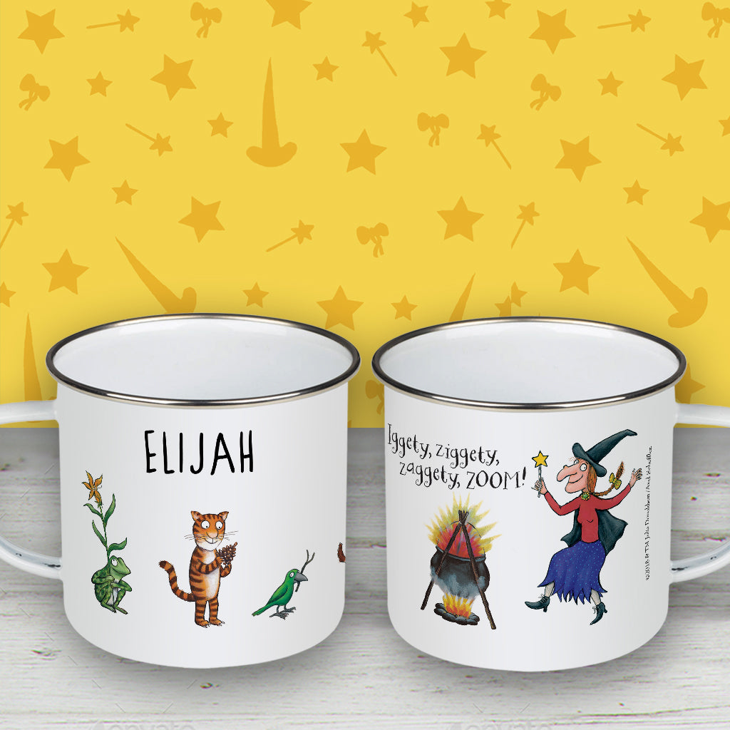 Room on the Broom Personalised Enamel Mug
