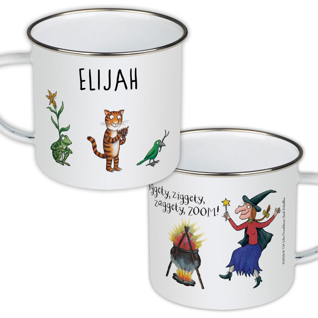 Room on the Broom Personalised 'Iggity Ziggity' Enamel Mug