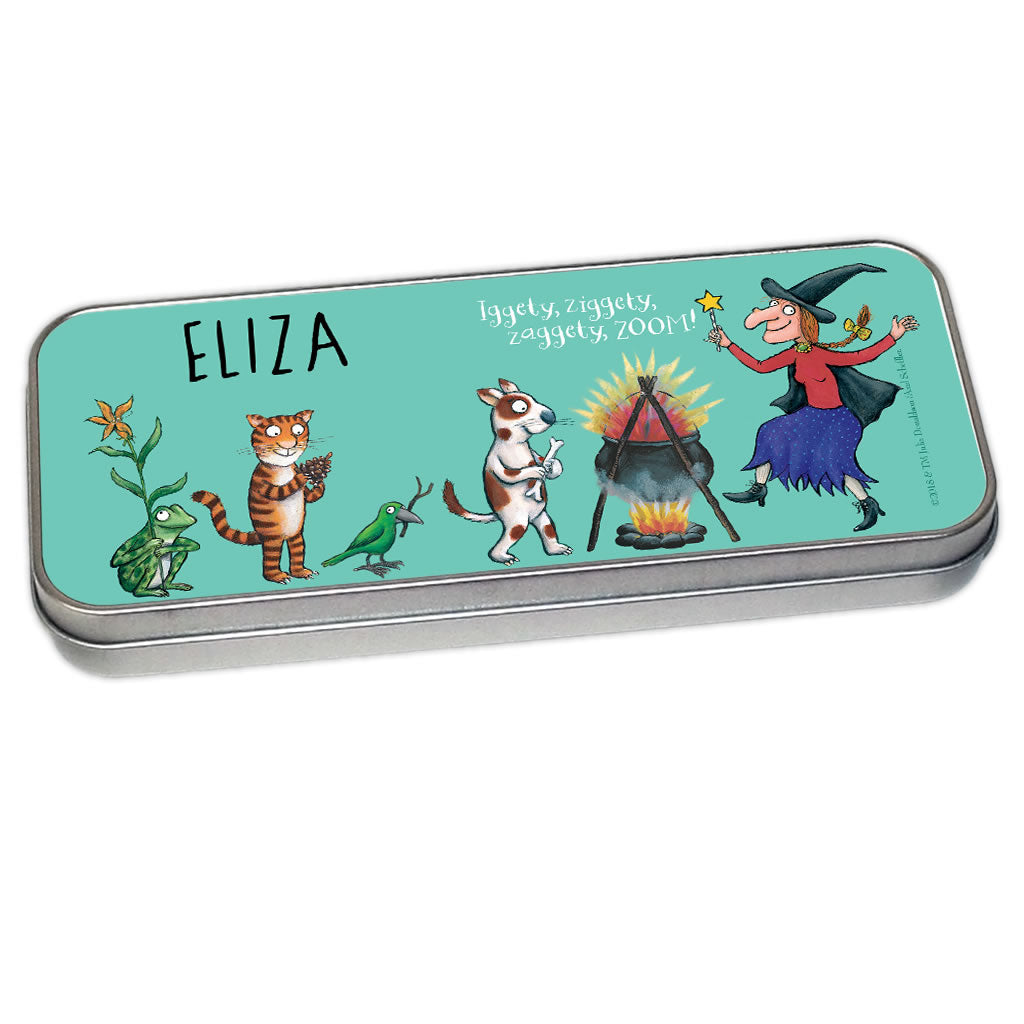 Room on the Broom Personalised Pencil Tin