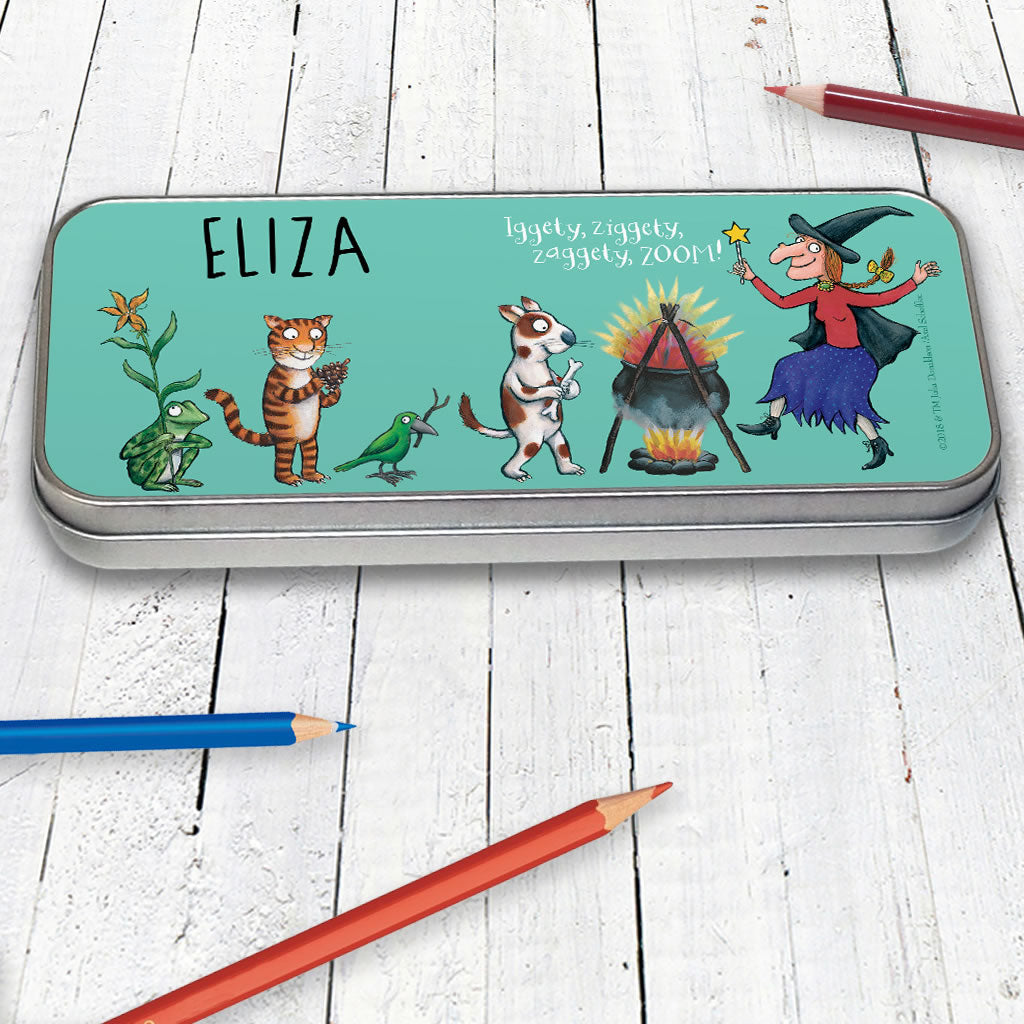 Room on the Broom Personalised Pencil Tin (Lifestyle)