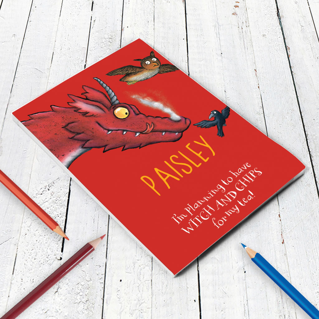 Red Dragon Room on the Broom Personalised A5 Notepad (Lifestyle)