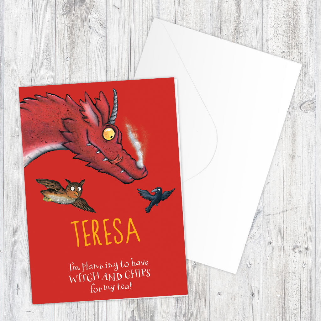 Dragon Room on the Broom Personalised Greeting Card (Lifestyle)