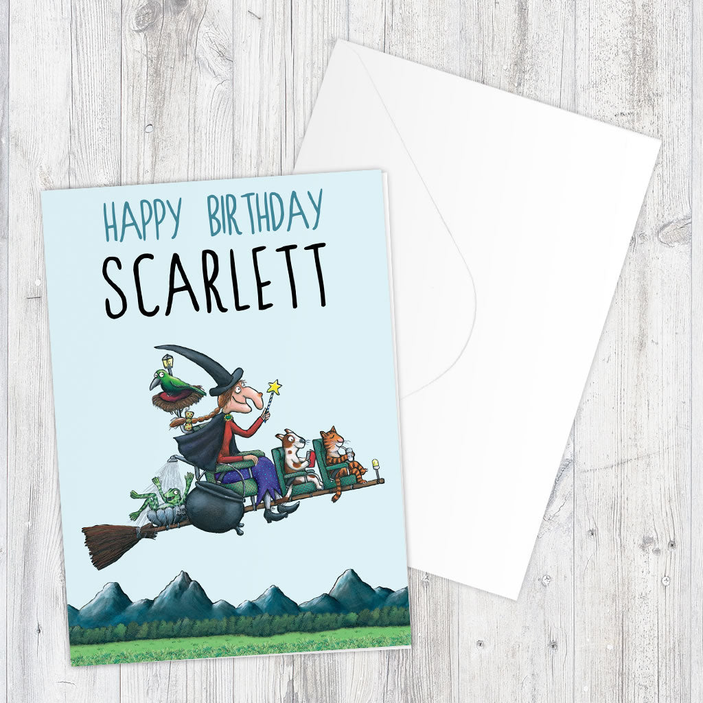 Room on the Broom Personalised Greeting Card (Lifestyle)