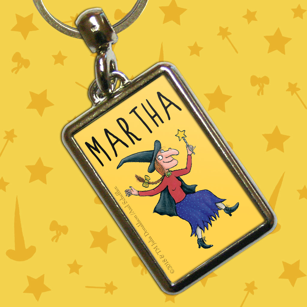 Yellow Witch Room on the Broom Personalised Metal Keyring