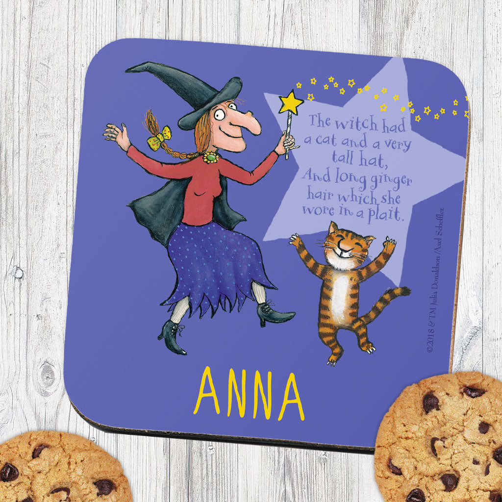 Purple Room on the Broom Personalised Coaster (Lifestyle)