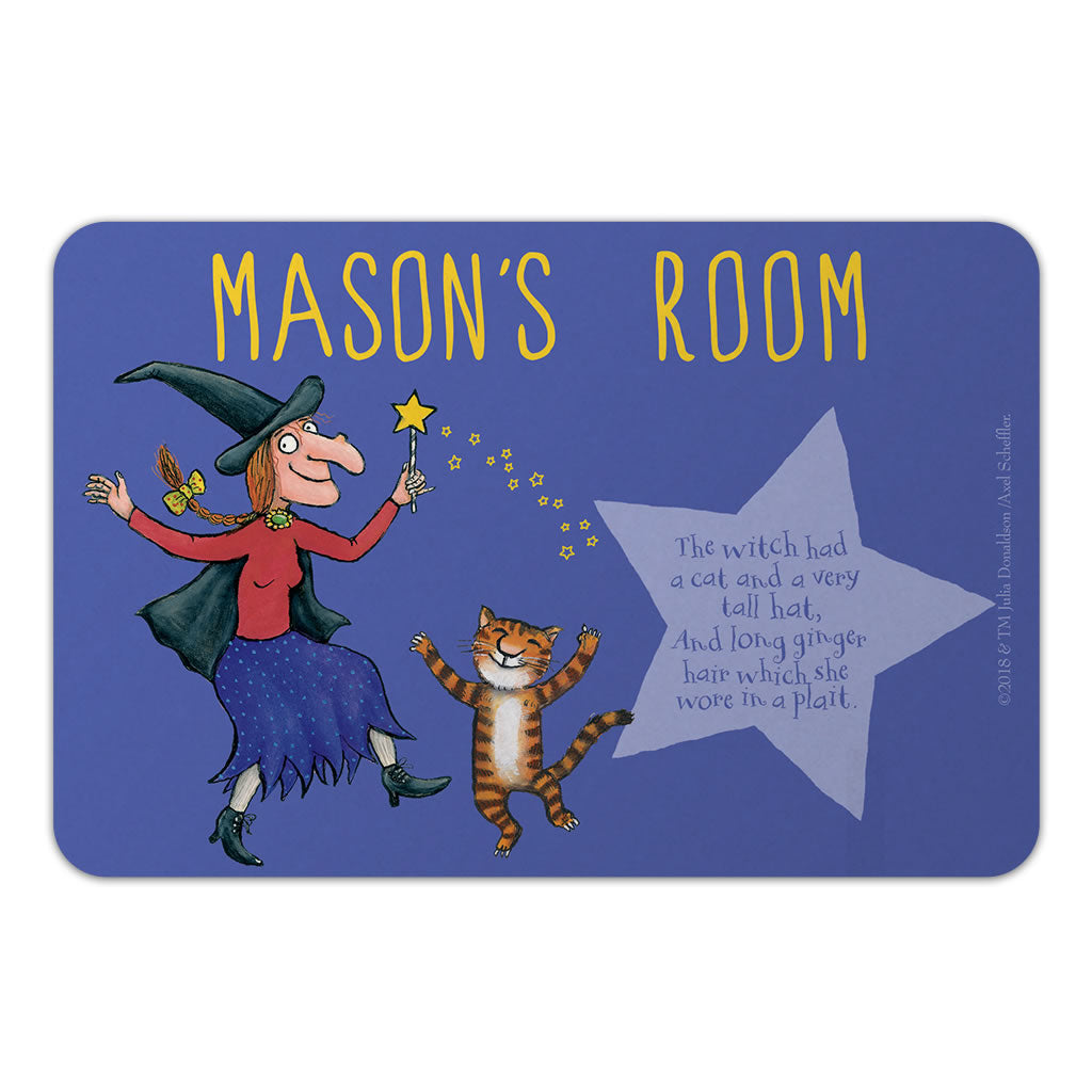 Personalised Witch & Cat Room on the Broom Door Plaque