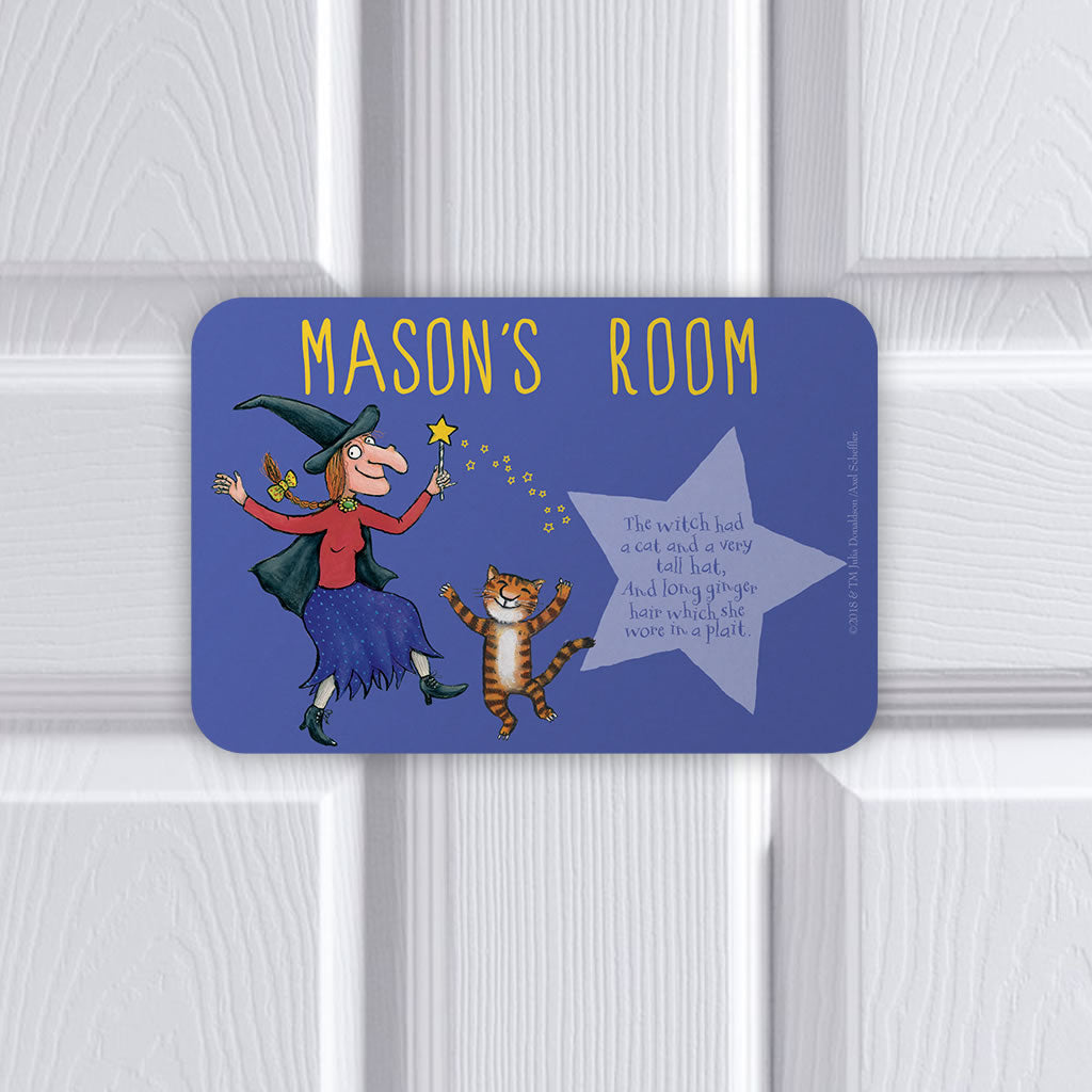 Personalised Witch and Cat Room on the Broom Personalised Door Plaque (Lifestyle)