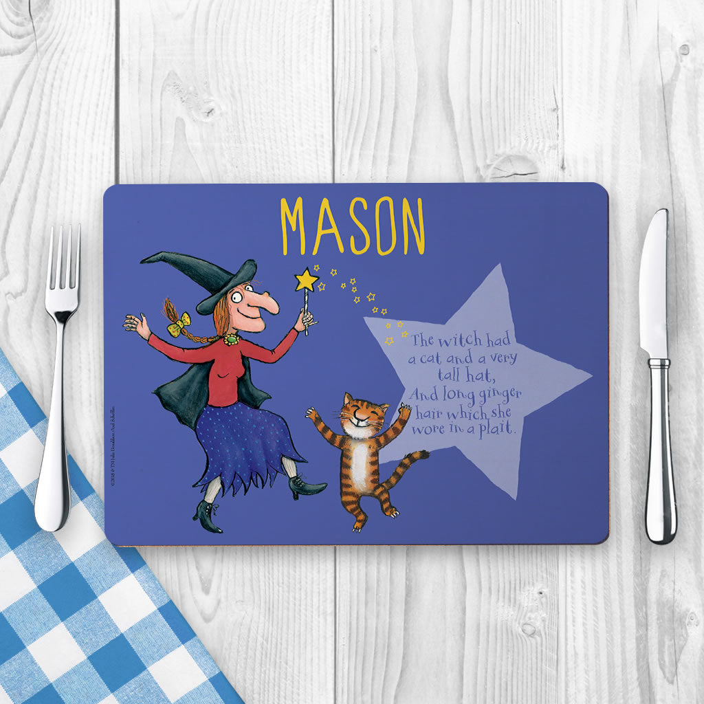 Witch and Cat Room on the Broom Personalised Placemat (Lifestyle)
