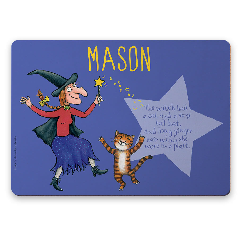 Witch and Cat Room on the Broom Personalised Placemat
