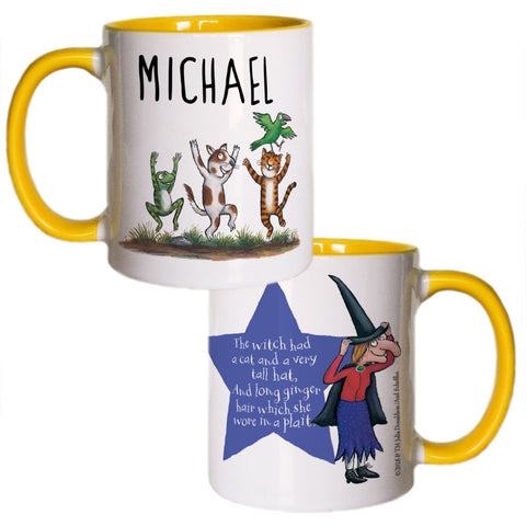 Yellow Room on the Broom Personalised Coloured Insert Mug