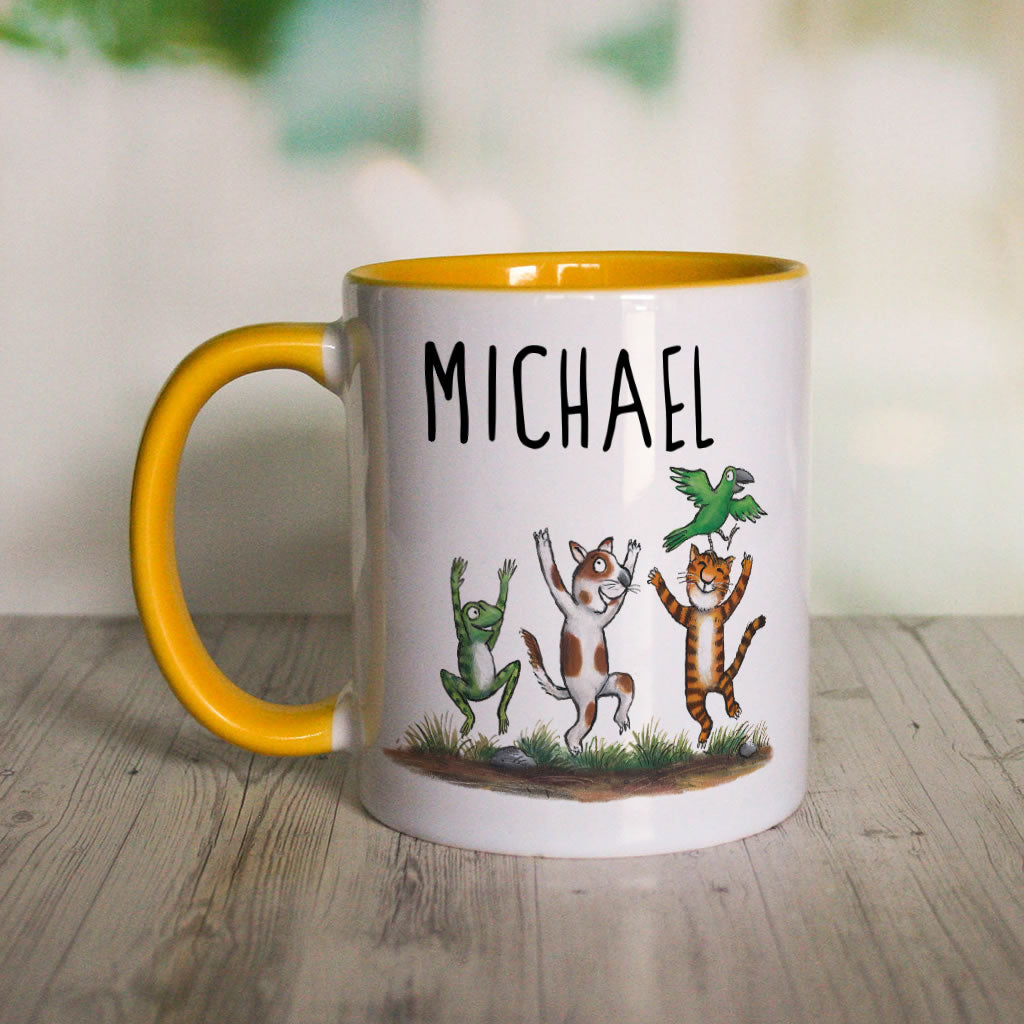 Yellow Room on the Broom Personalised Coloured Insert Mug (Lifestyle)