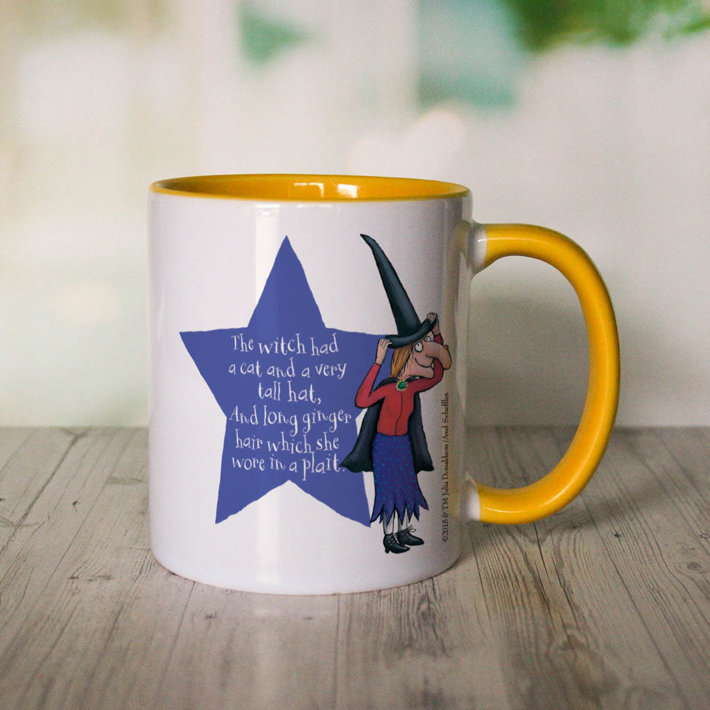 Yellow Room on the Broom Personalised Coloured Insert Mug (Lifestyle 2)