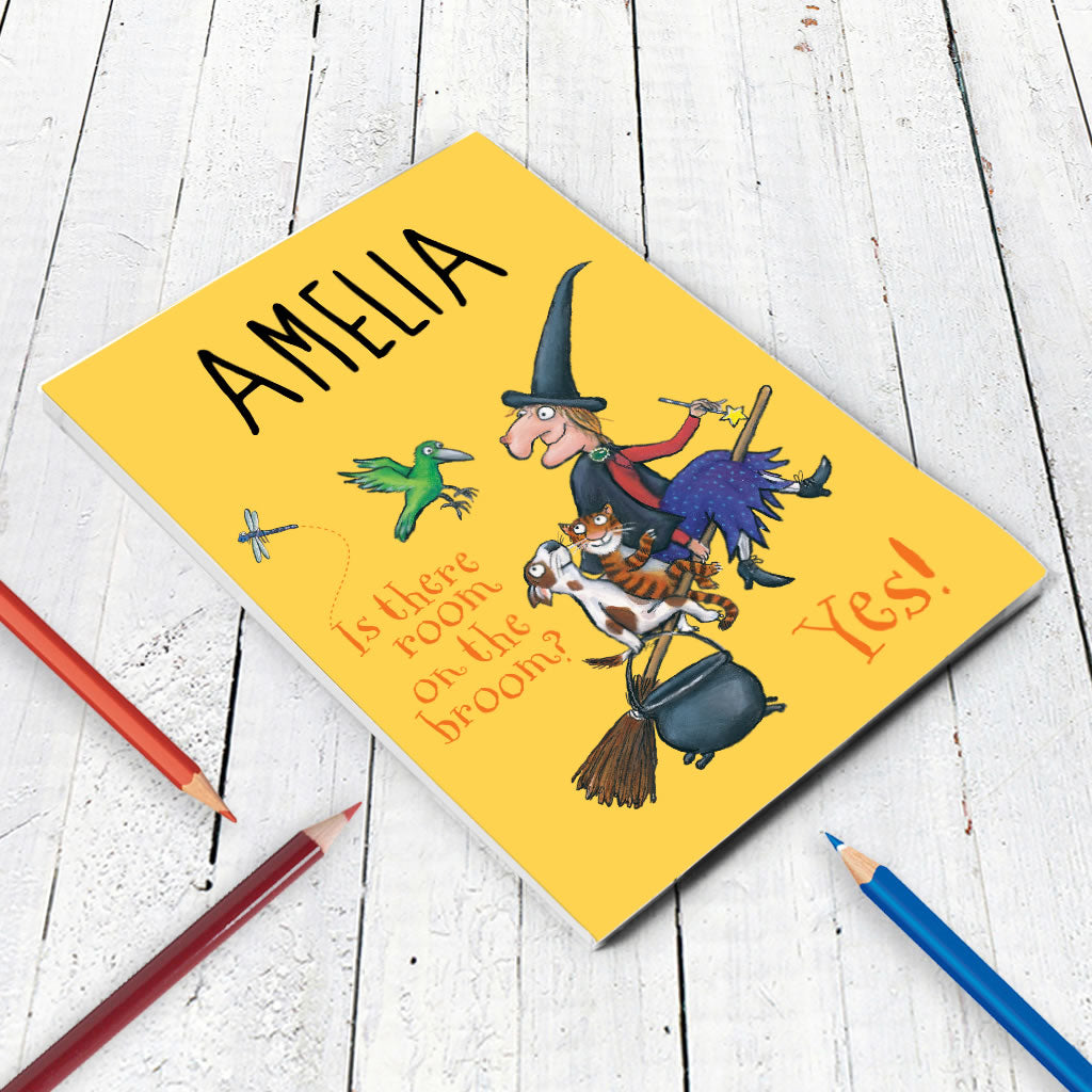 Yellow Room on the Broom Personalised A5 Notepad (Lifestyle)