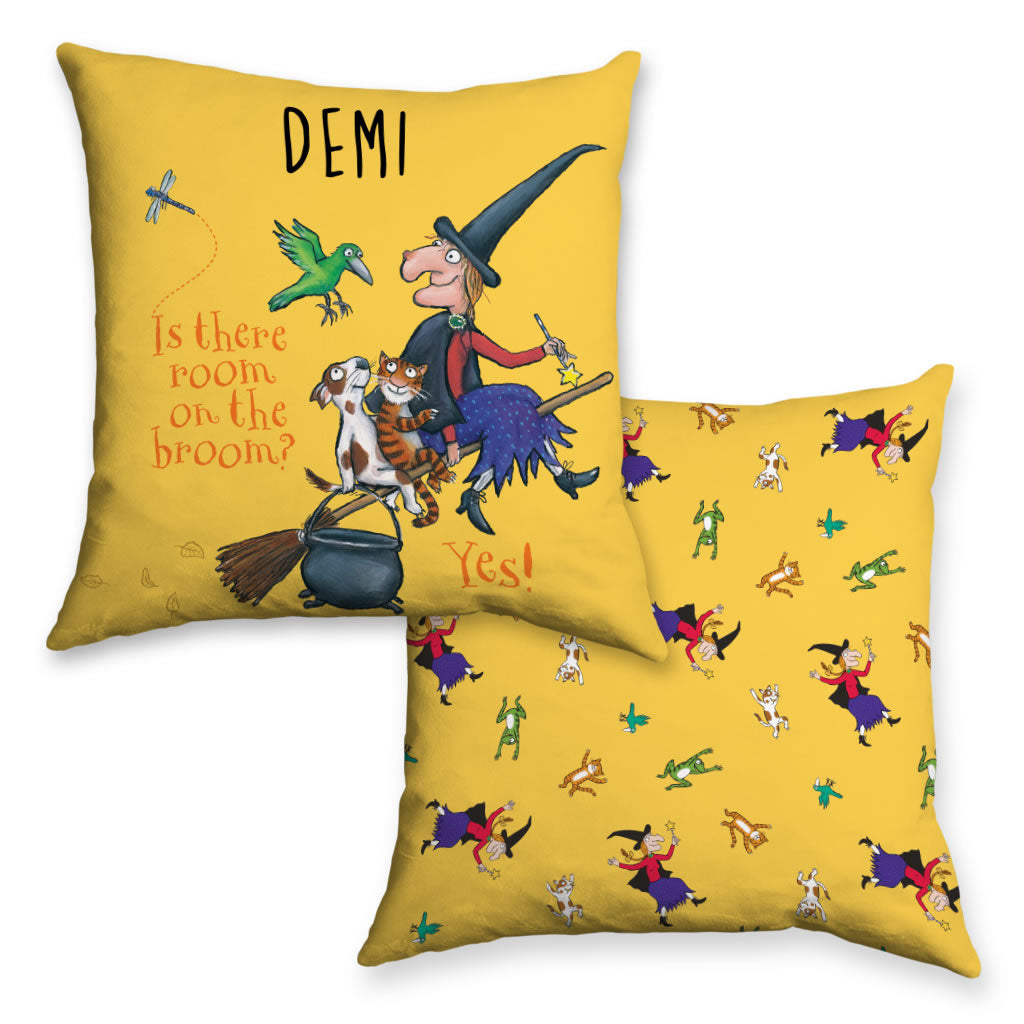 Yellow Room on the Broom Personalised Cushion