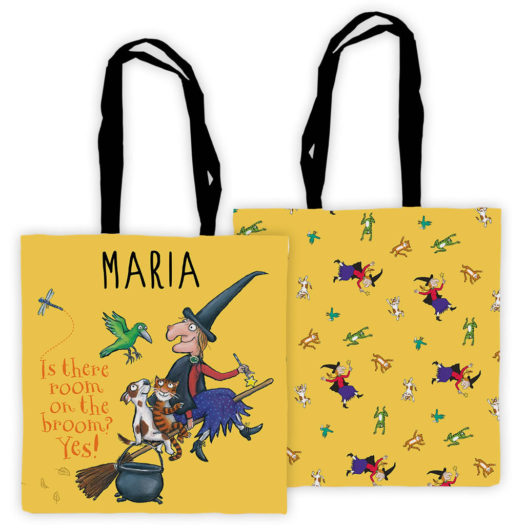 Yellow Room on the Broom Personalised Edge to Edge Tote Bag