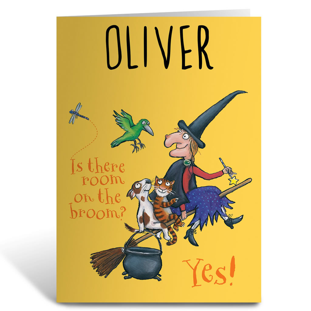 Yellow Room on the Broom Personalised Greeting Card