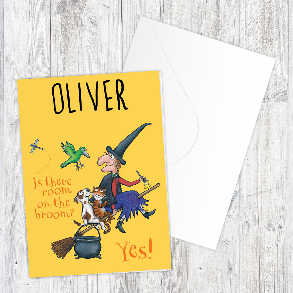 Yellow Room on the Broom Personalised Greeting Card (Lifestyle)