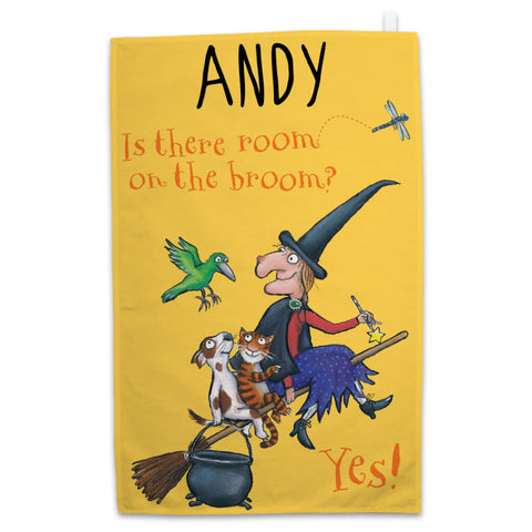Personalised Yellow Room on the Broom Personalised Tea Towel