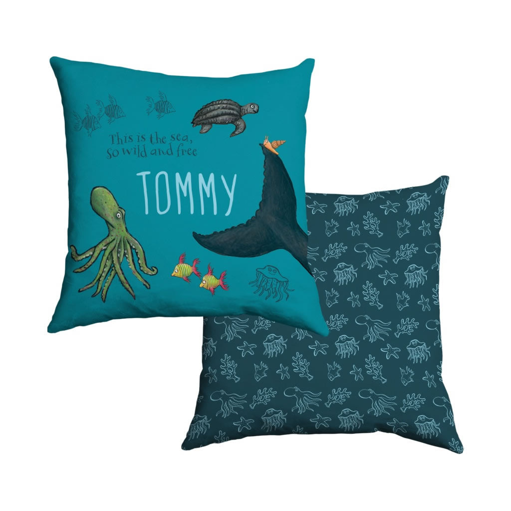 This is the sea so wild and free Personalised Cushion