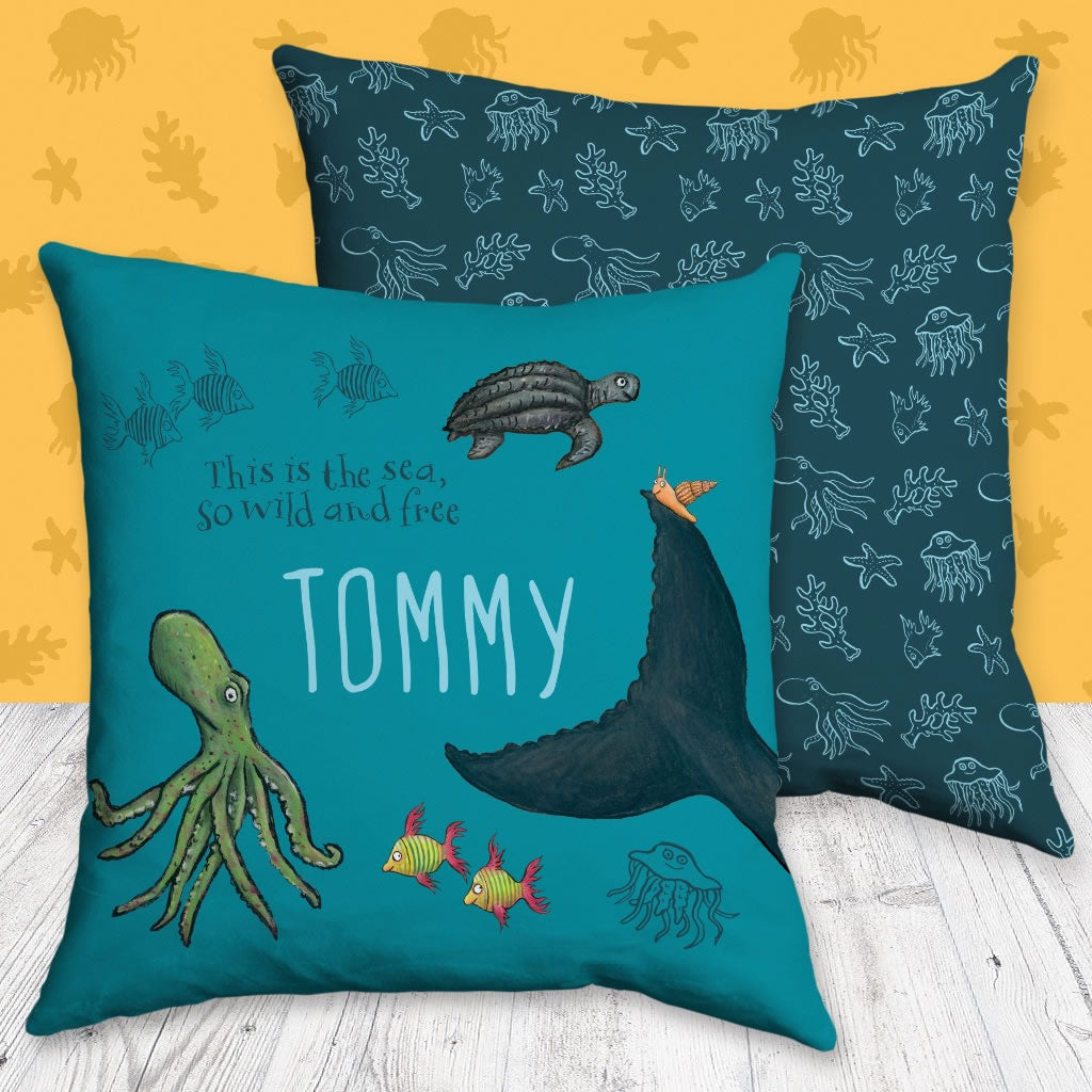 This is the sea so wild and free Personalised Cushion 2