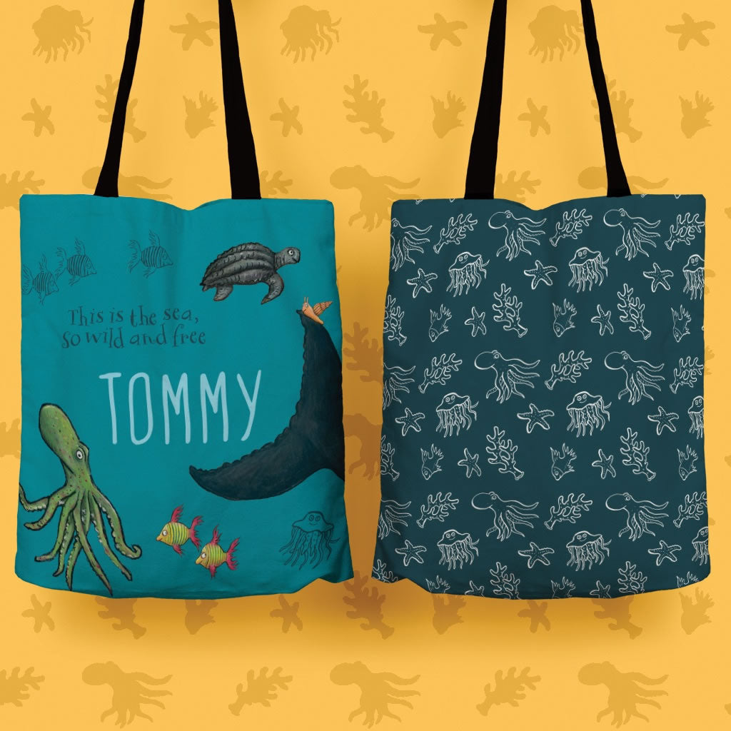 This is the sea so wild and free Personalised Edge to Edge Tote Bag 2