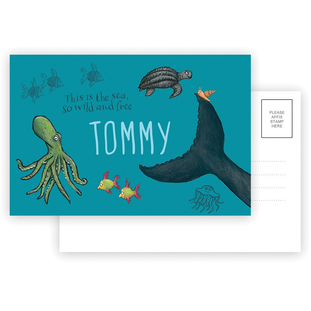 This is the sea so wild and free Personalised Postcard Pack of 8