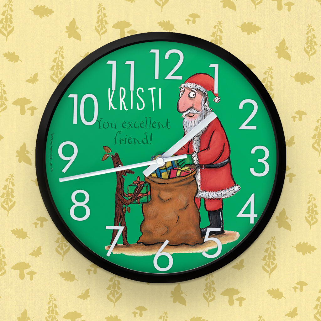 Festive Stick Man  Personalised Clock