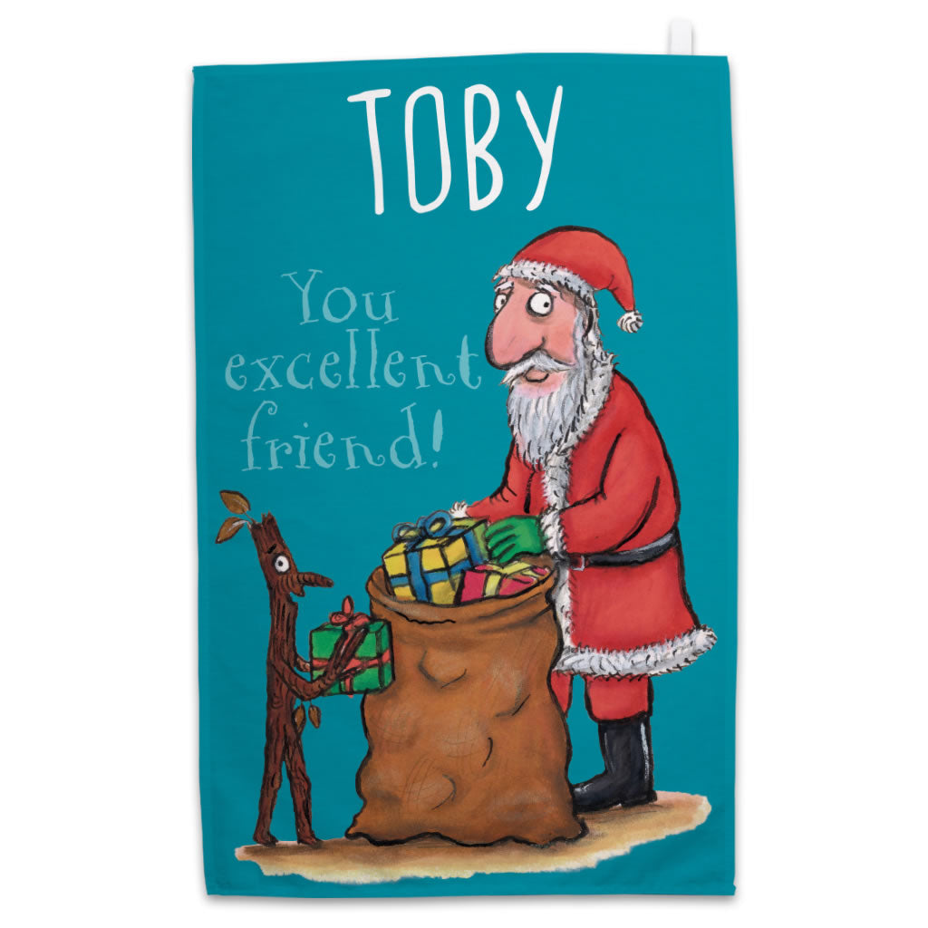 Personalised Festive Stick Man Personalised Tea Towel