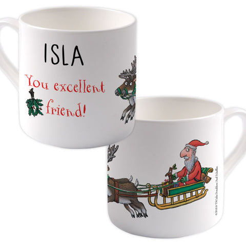 festive  Personalised Large Bone China Mug