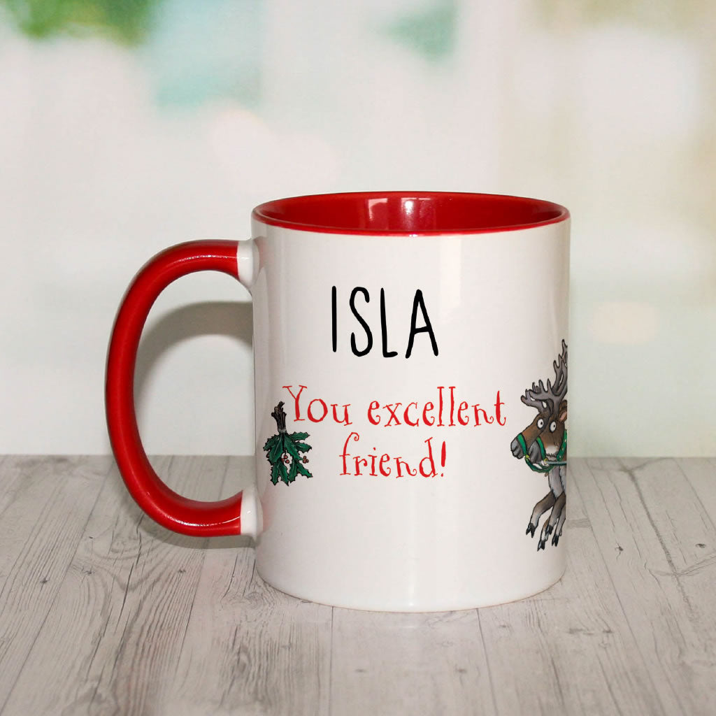 Festive Stick Man  Personalised Coloured Insert Mug (Lifestyle)