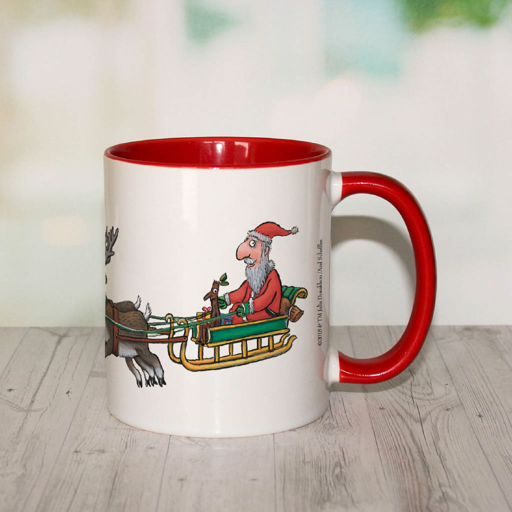 Festive Stick Man  Personalised Coloured Insert Mug (Lifestyle 2)