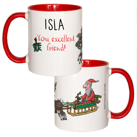 Festive Stick Man  Personalised Coloured Insert Mug