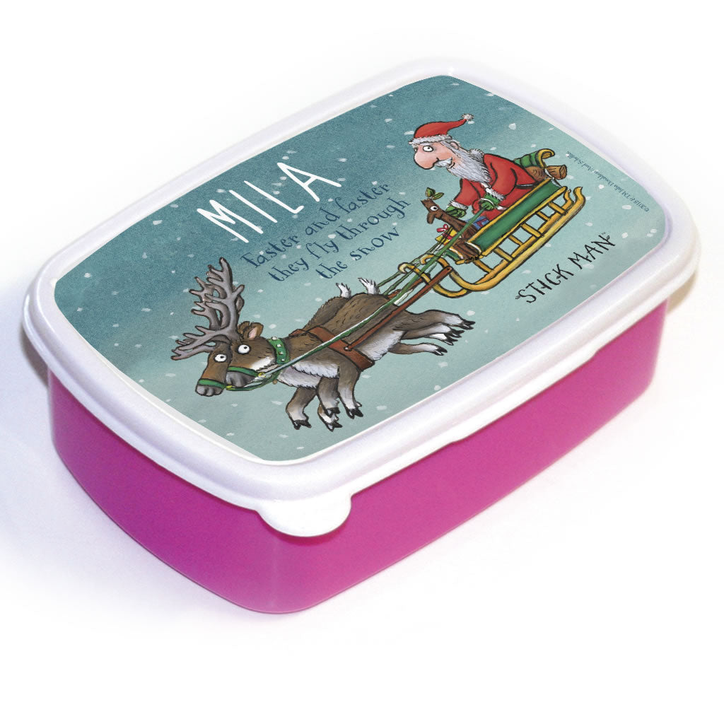 Festive Stick Man Personalised Lunch Box