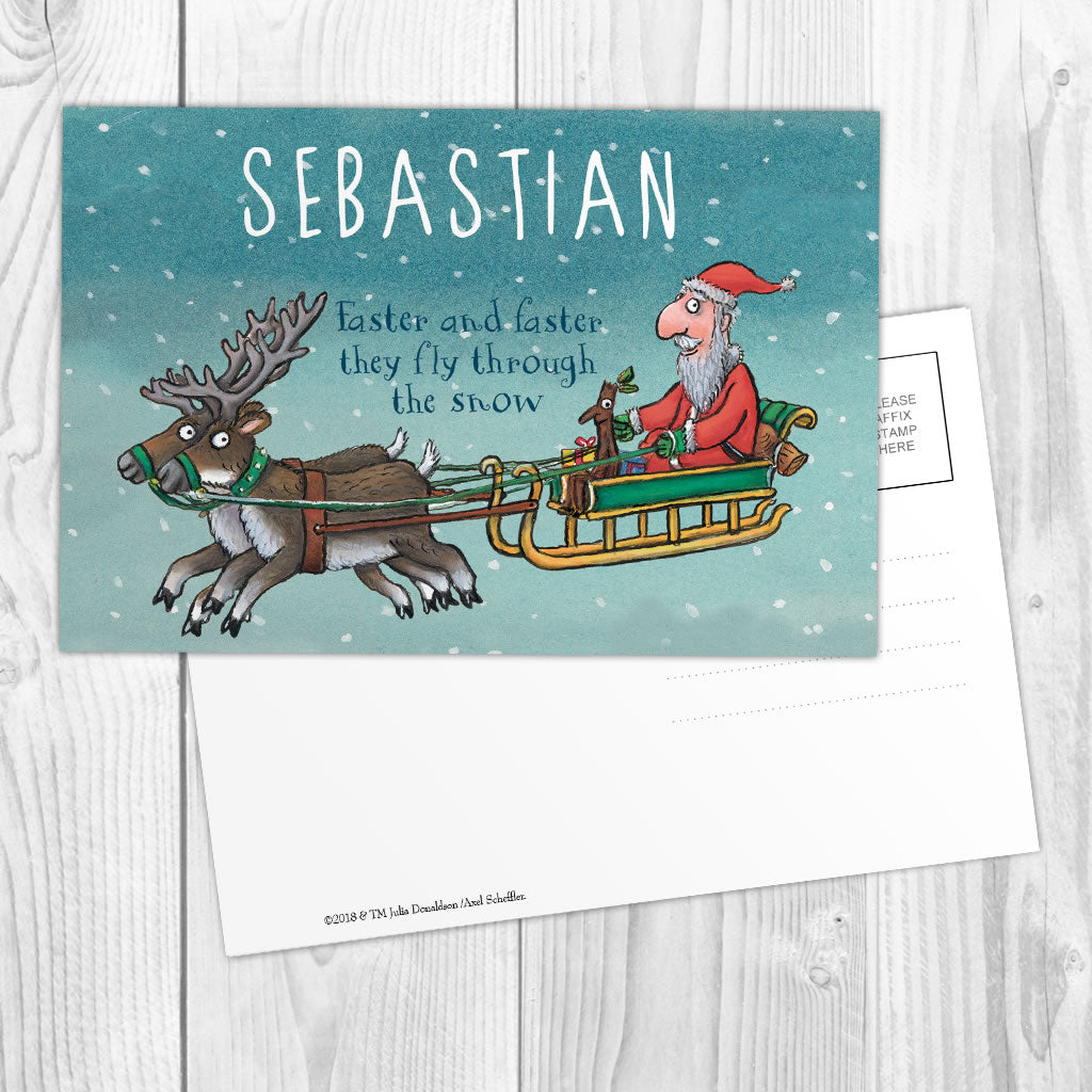 Festive Stick Man Personalised Postcard (Lifestyle)