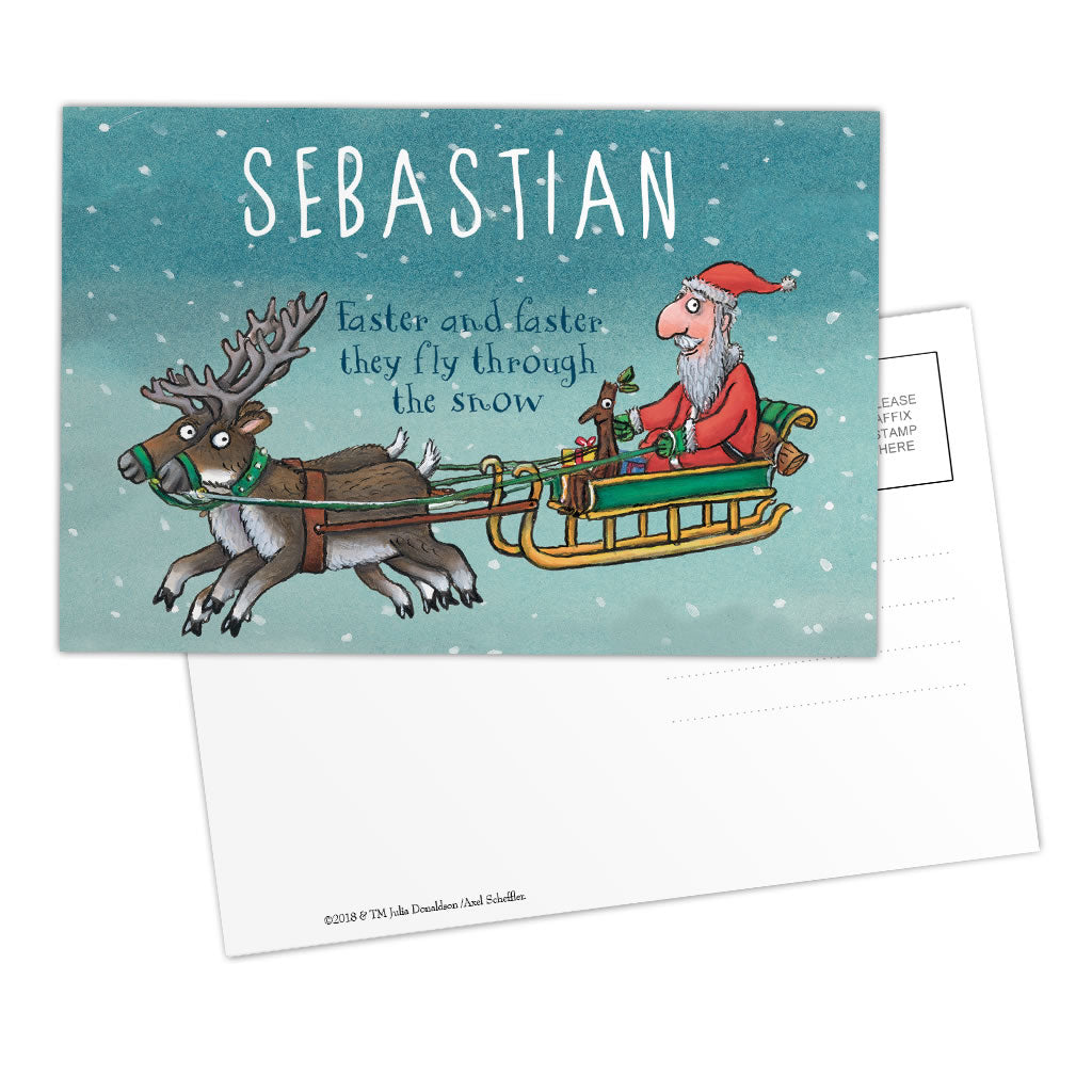 Festive Stick Man Personalised Postcard