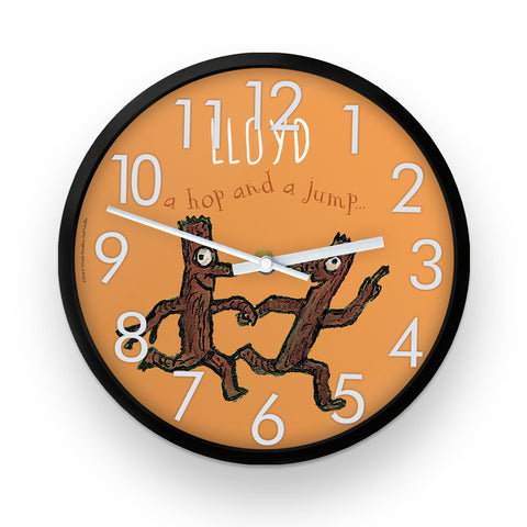 Orange Stick Man  Personalised Clock