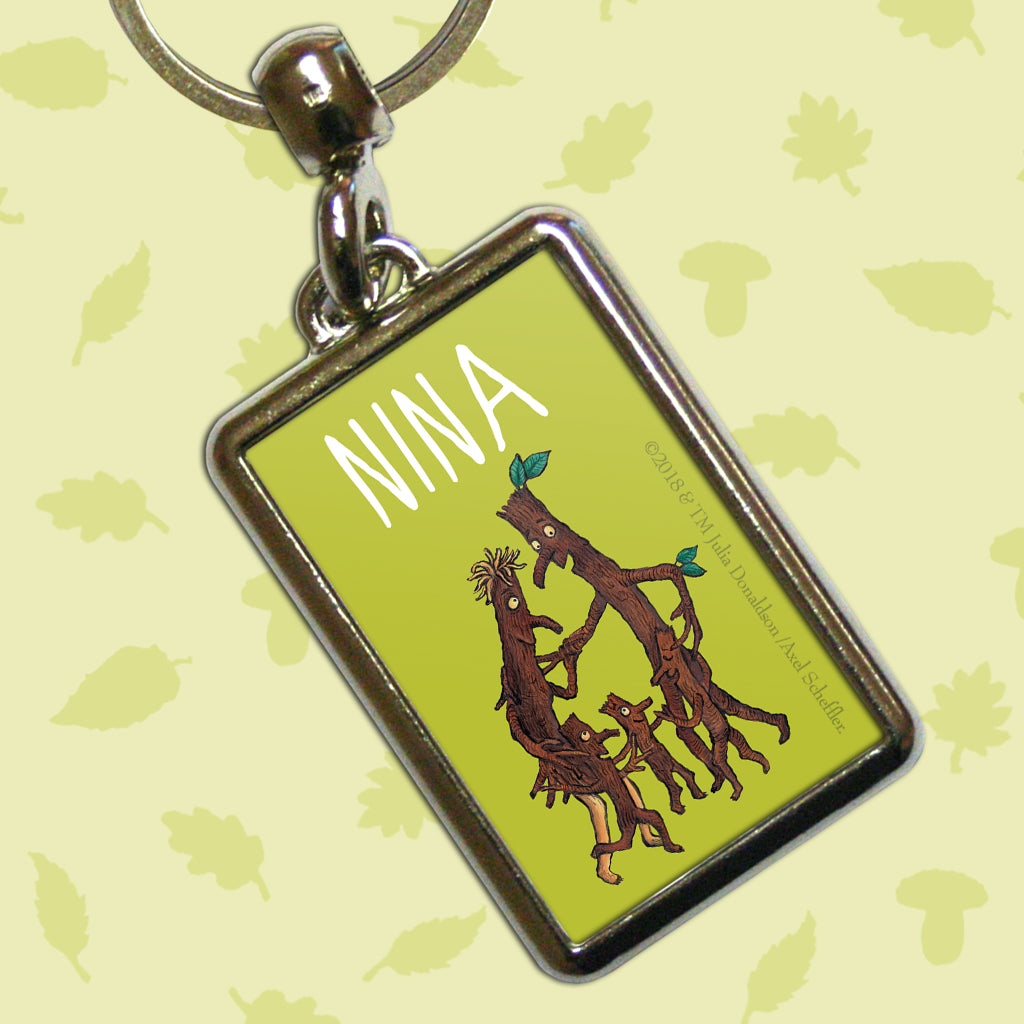 Green Stick Man Personalised Metal Keyring