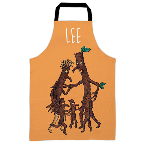 Orange Stick Man  Personalised Apron