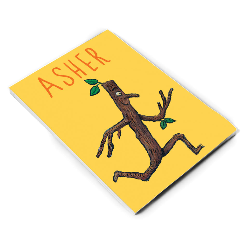 Yellow Running Stick Man Personalised A5 Notepad