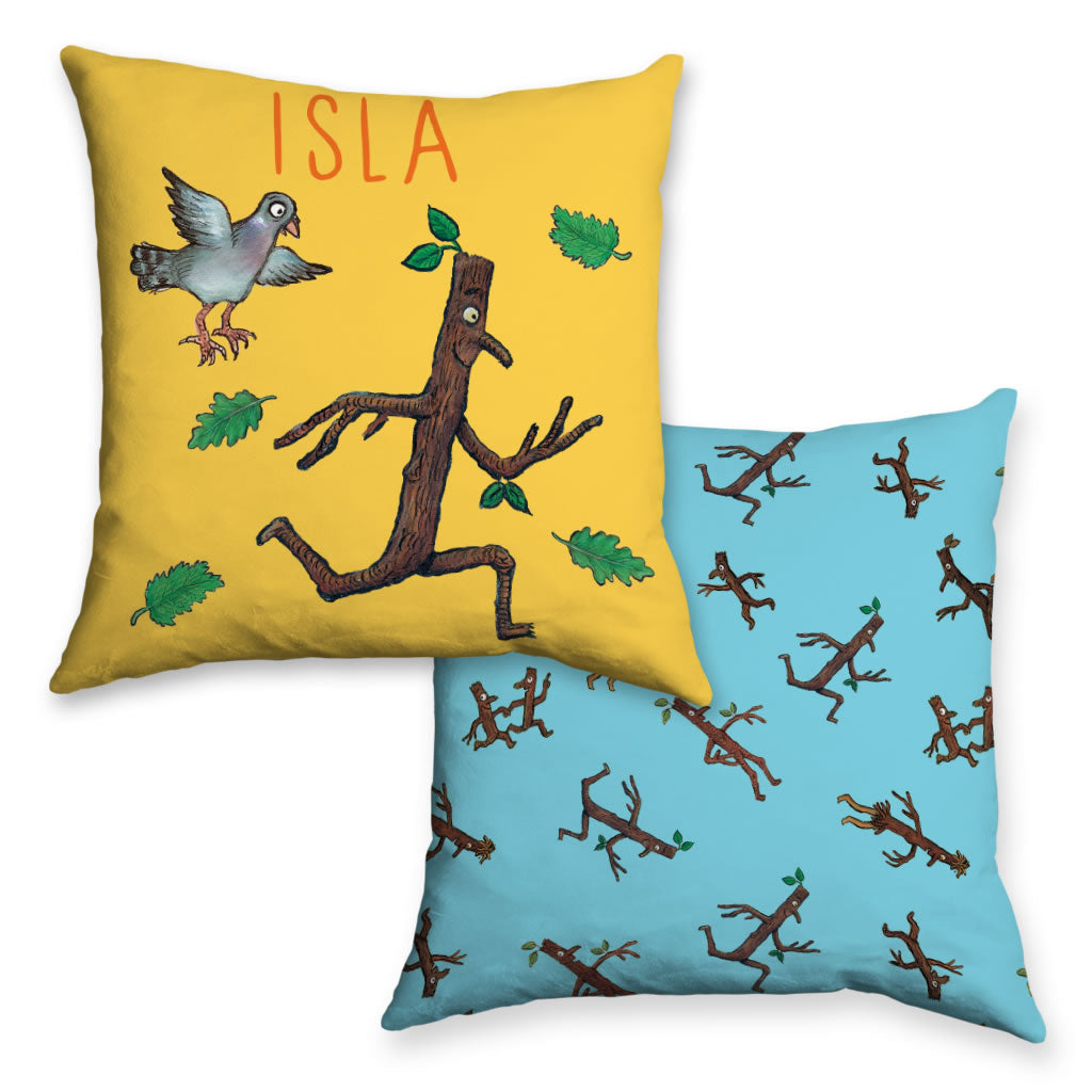 Stick Man Running Personalised Cushion