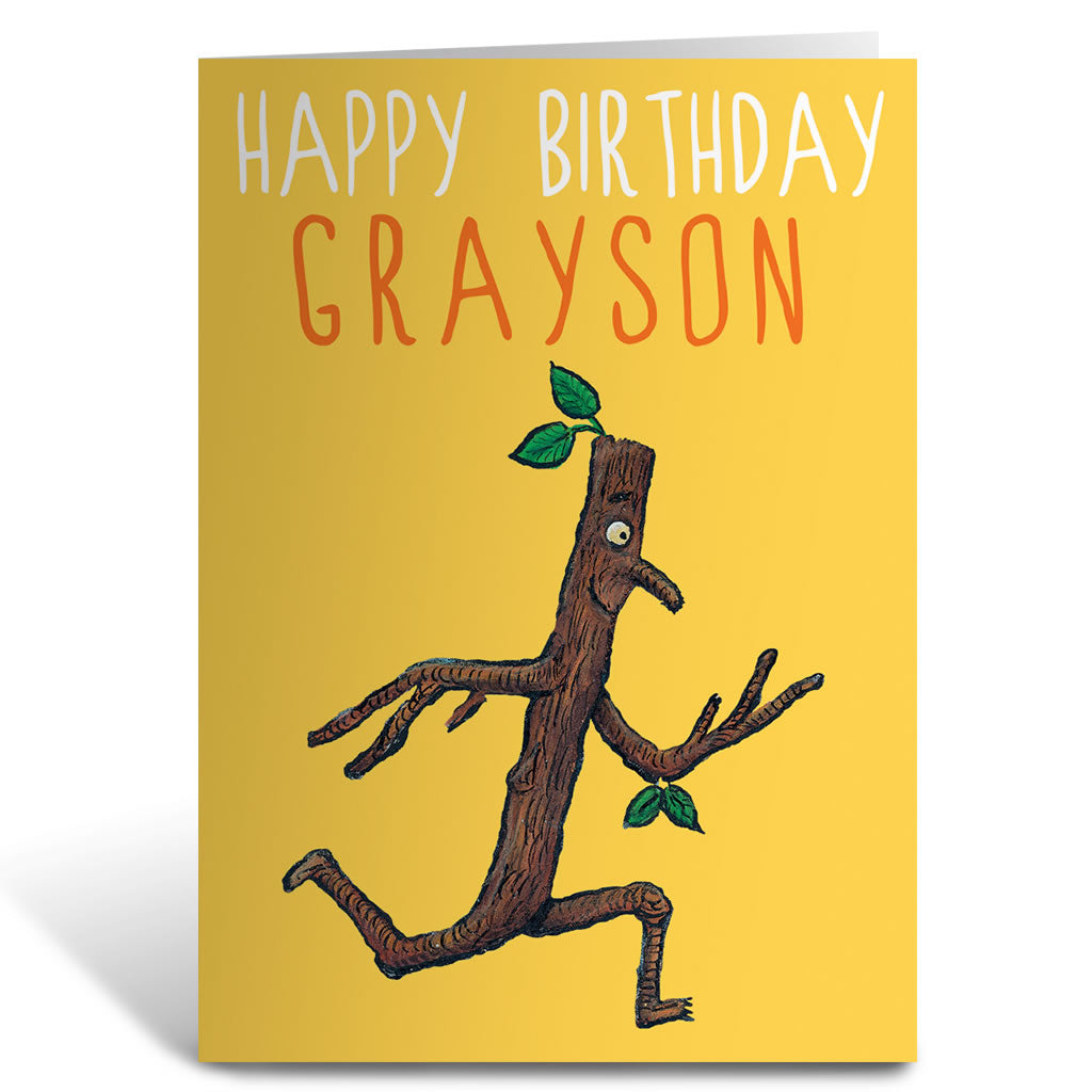 Stick Man Running Greeting Card Personalised Greeting Card