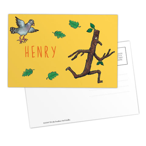Yellow Stick Man Personalised Postcard