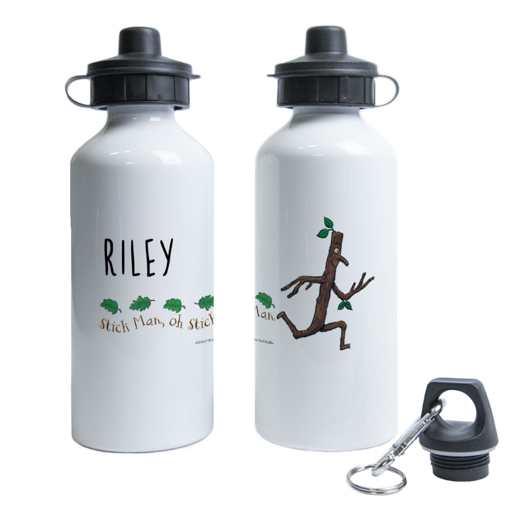 Stick Man Running Personalised Water Bottle