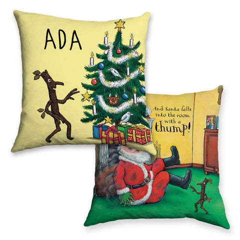 Festive Stick Man Personalised Cushion