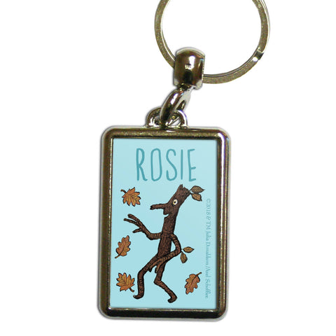Blue Stick Man Personalised Metal Keyring