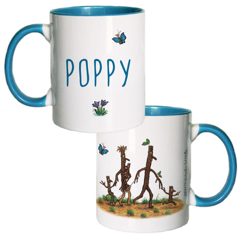 Blue Stick Man Family  Personalised Coloured Insert Mug