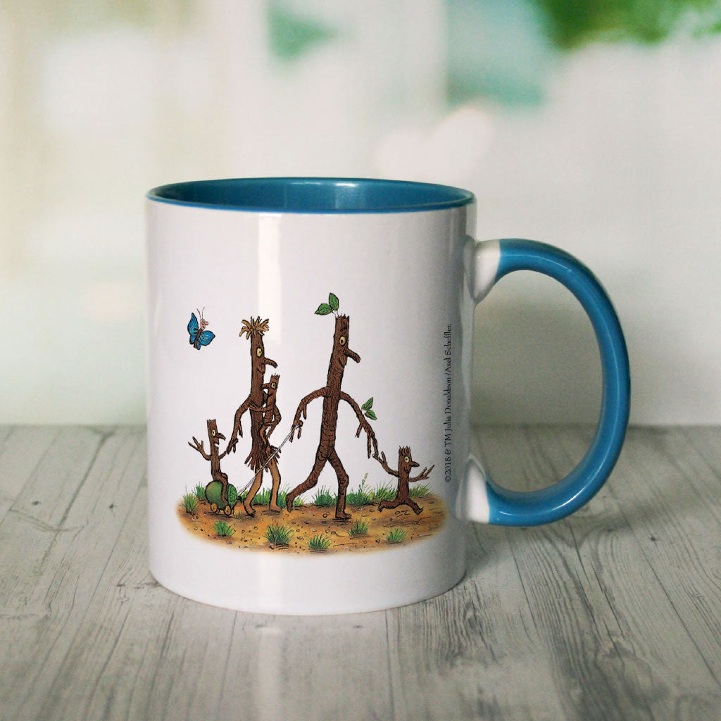 Blue Stick Man Family  Personalised Coloured Insert Mug (Lifestyle 2)