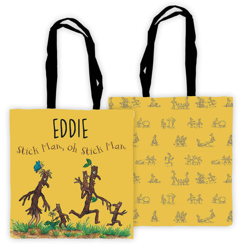 Yellow Stick Man Family Personalised Edge to Edge Tote Bag