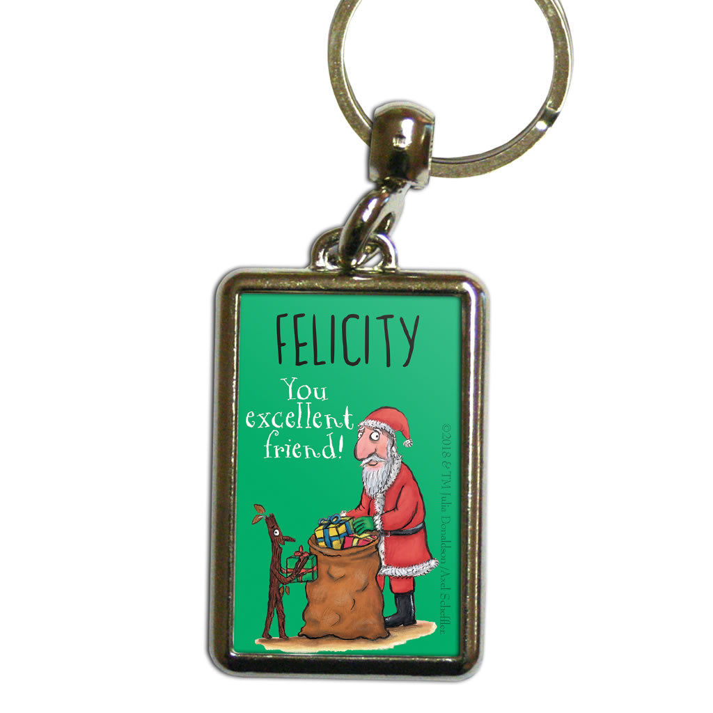 Festive Stick Man Personalised Metal Keyring