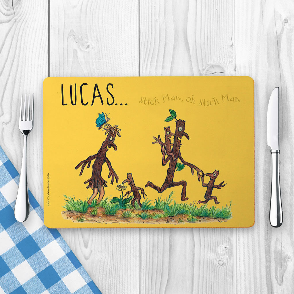 Yellow Stick Man Family Personalised Placemat (Lifestyle)
